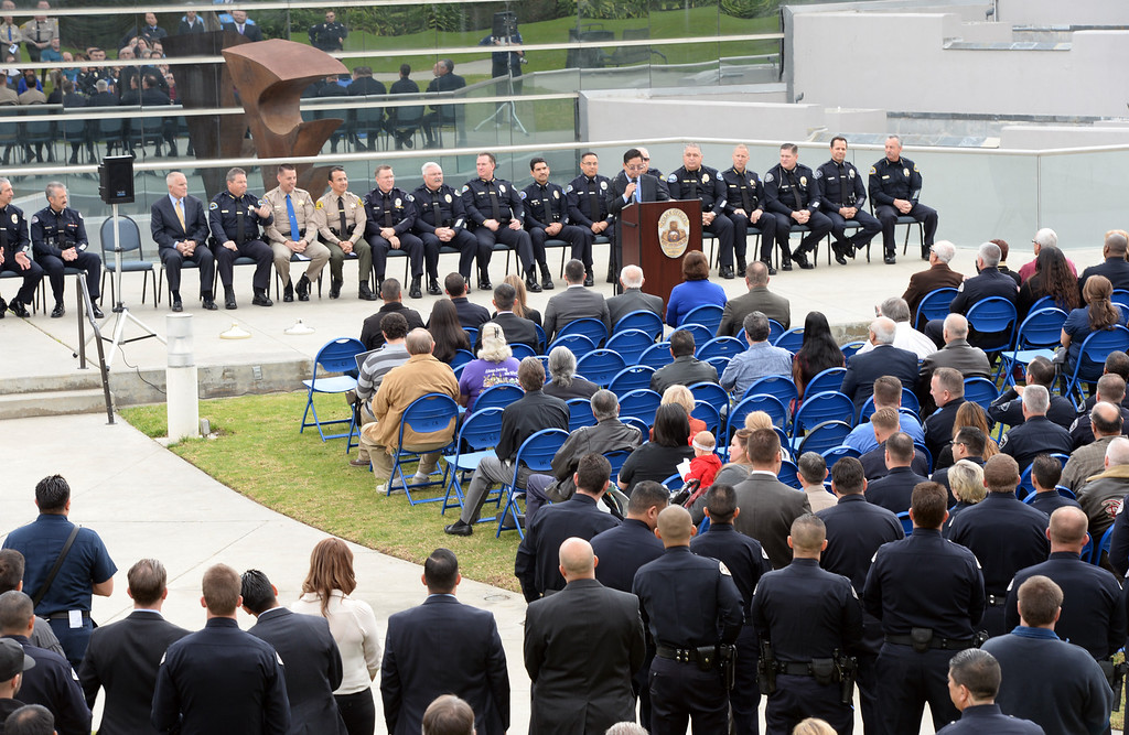 . William Faulkner is sworn in as the new Police Chief during a ceremony at the West Covina Civic Center on Thursday February 6, 2014. Faulkner comes with 30 years of experience after spending much of his career at the Fontana Police Department. (Staff Photo by Keith Durflinger/San Gabriel Valley Tribune)