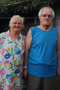 Recil Brum Silva (Lajes do Pico, Pico), born 1931, and his wife, Maria Emilia Silva, born 1935, married in 1956; pictured in their garden at their home in Lajes do Pico. August 20, 2012.