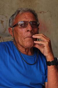 Manuel Homem da Silva (Ribeiras, Pico), born 1938, pictured in the workshop of João Tavares. August 10, 2012.