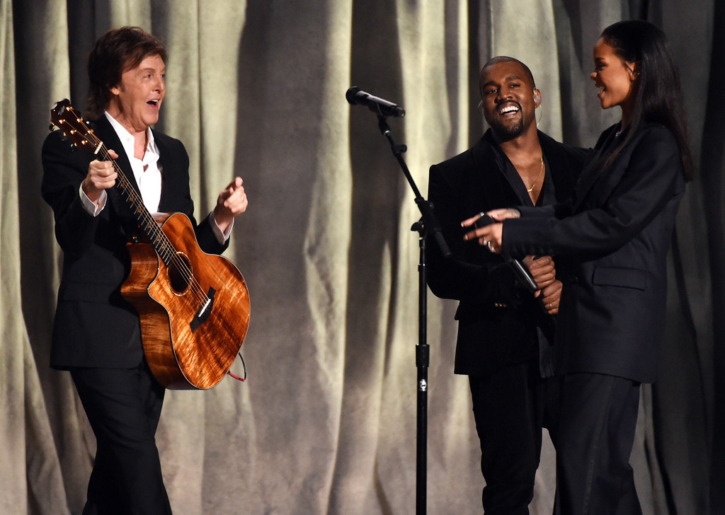 . Paul McCartney, from left, Kanye West and Rihanna perform at the 57th annual Grammy Awards on Sunday, Feb. 8, 2015, in Los Angeles. (Photo by John Shearer/Invision/AP)