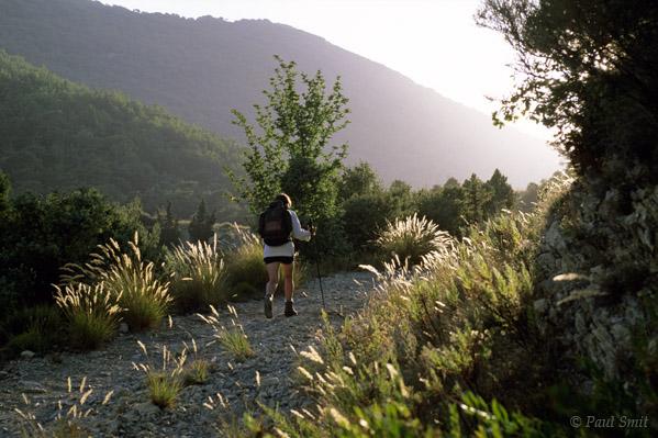 [FRANCE.COTEDAZUR 2737]  'Path to the sun.'  A late summer sun sweeps over our trail near Sainte Agnès. Photo Paul Smit.