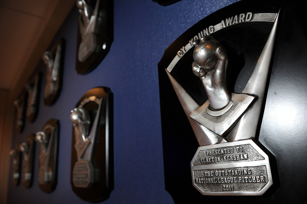 . The Cy Young Awarded to Clayton Kershaw hangs on the wall at Dodger Stadium. Dodger General Manager Ned Colletti and President and part Dodger Owner Stan Casten held a press conference at Dodger Stadium to formally announce the $215 million contract for pitcher Clayton Kershaw. Los Angeles, CA January 15, 2014.(John McCoy/Los Angeles Daily News)
