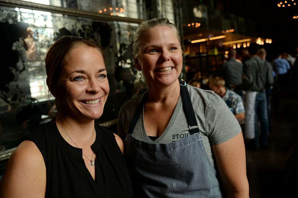 . DENVER, CO - JULY 08: Beth Gruitch, left, and Jennifer Jasinski, owners of Stoic & Genuine. Stoic & Genuine, Denver\'s multi-coastal seafood, oyster house and granita bar, is the first restaurant to open in Denver\'s Historic Union Station serving lunch and dinner daily. Denver, Colorado, July 8, 2014.  (Photo by Hyoung Chang/The Denver Post)