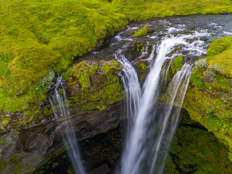 Over Kvernufoss Waterfall