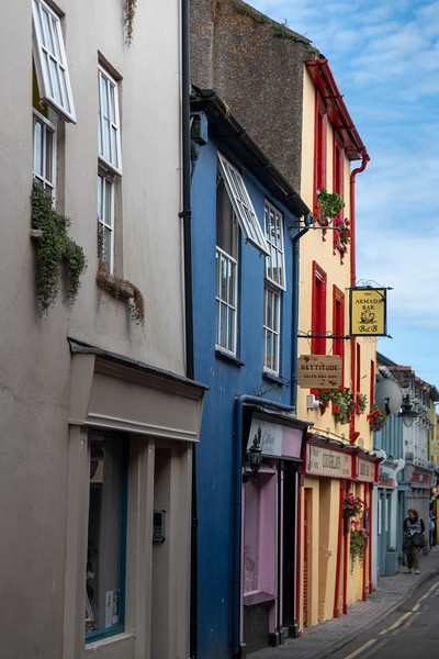 Caf� bar and retail stores along the street, Kinsale, County Cork, Ireland