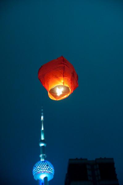 Flying lantern over Shanghai