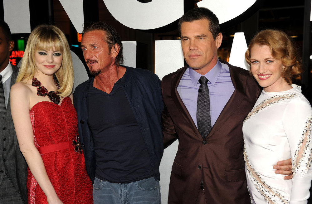 """. (L-R) Actors Emma Stone, Sean Penn, Josh Brolin and Mireille Enos arrive at Warner Bros. Pictures\' \""""Gangster Squad\"""" premiere at Grauman\'s Chinese Theatre on January 7, 2013 in Hollywood, California.  (Photo by Kevin Winter/Getty Images)"""