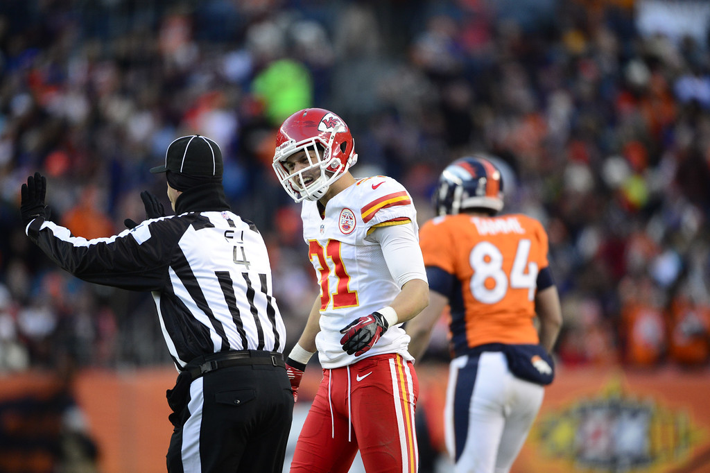 . Kansas City Chiefs free safety Tysyn Hartman (31) argues with the referee in the third quarter as the Denver Broncos took on the Kansas City Chiefs at Sports Authority Field at Mile High in Denver, Colorado on December 30, 2012. AAron Ontiveroz, The Denver Post