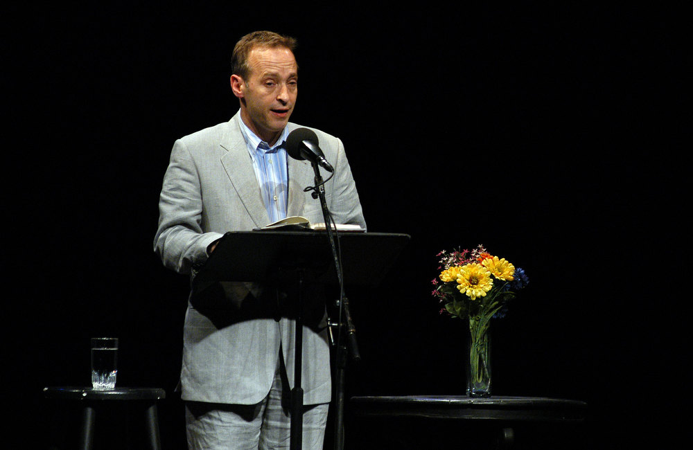 Description of . Author David Sedaris Reads A short story at the  Symphony Space with David Sedaris presents selected shorts June 2, 2004 in New York City.  (Photo by Bryan Bedder/Getty Images)