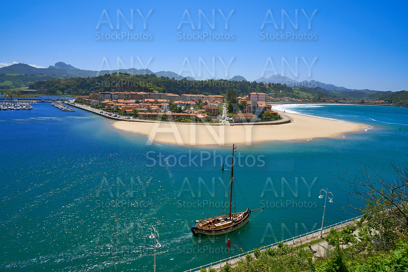 Ribadesella village aerial view in Asturias Spain