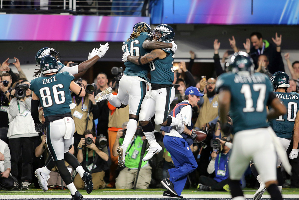 . Philadelphia Eagles running back Corey Clement celebrates with Jay Ajayi after Clement\'s second half touchdown against the New England Patriots in Super Bowl 52 on Sunday, February 4, 2018 in Minneapolis. (AP Photo/Gregory Payan)