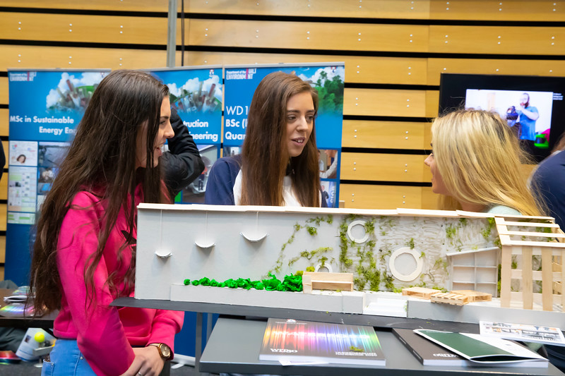 "22/11/2019. FREE TO USE IMAGE. Pictured at Waterford Institute of Technology (WIT) Open Day. Pictured are Sarah Clarke from School of Architecture (center) with Anna McCarthy. Caitlin Gallagher. Picture: Patrick Browne  Two open days taking place this week for school leavers and adult learners at WIT Arena  Families of south east Leaving Cert students wishing to get as much course and college-related research done as early as possible in sixth year can do so by attending the Waterford Institute of Technology (WIT) Saturday Open Day, 9am-2pm on 23 November 2019. The traditional schools' open day will run as usual on Friday, 22 November with a focus on information for secondary school students, students in further education colleges, and other CAO applicants, including mature students.  The Saturday Open Day – isn't just about courses for school leavers – it will have information available on the courses available across WIT's schools of Lifelong Learning, Humanities, Engineering, Science & Computing, Health Sciences, Business.  Adults interested in upskilling, or re-skilling can find out about Springboard courses, traditional evening courses as well as part-time and postgrad courses which are offered. WIT also runs specialist programmes for education, science, engineering and other professionals. The number of students studying WIT's part-time and online courses increased to 1650 in 2018, a 28% increase on 2017.  WIT Registrar Dr Derek O'Byrne says: ""A trend we are seeing at WIT Open Days is that students who may have enjoyed the Schools Open day with their friends and school groups, will return the following day with their parents or guardians.""  Students whose schools are attending are encouraged to join their school group on the Friday. As school students are fully catered for at the Schools' Open Day on Friday, there will not be the same breadth of school leaver focused talks and events at the open day on Saturday. However, says Dr O'Byrne it"