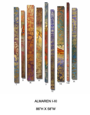 """Almaren I-XI by Hollack, 86""""h x 58""""w"""" painting on wood"""