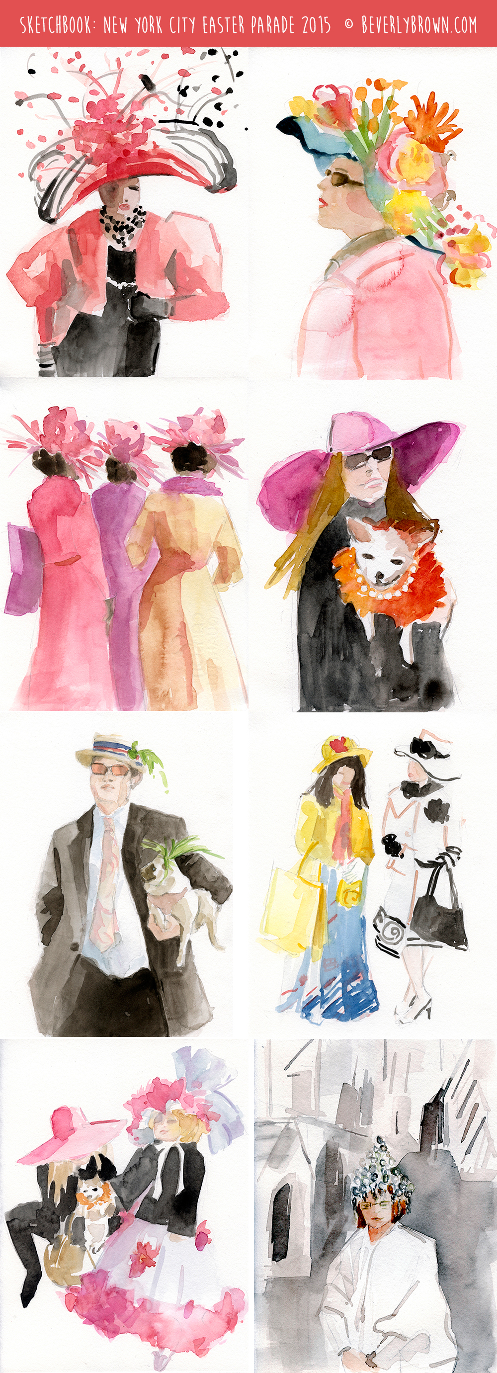 NYC Easter Parade - Watercolor Sketchbook by Beverly Brown