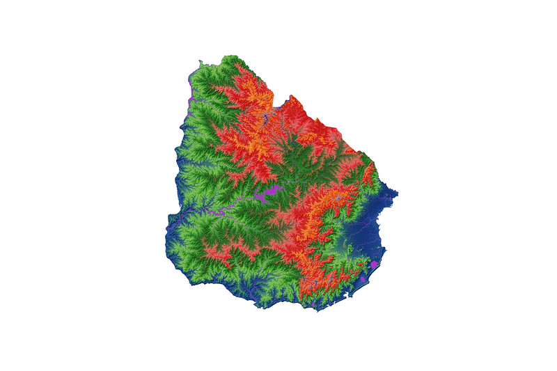 Elevation map of Uruguay