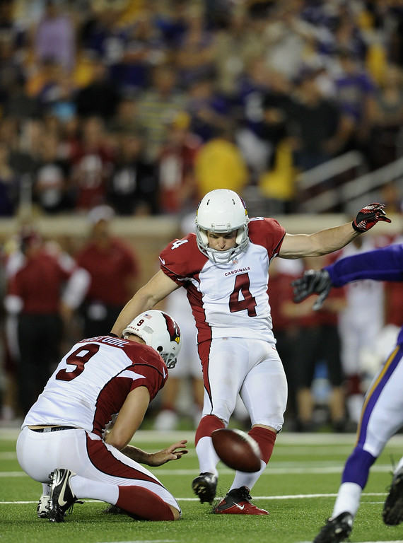 . Jay Feely, K, Arizona Cardinals The 13-year veteran kicker is done with the Cardinals, his sixth NFL team, after they signed him in 2010. Over his career, he�s made 82.7 percent of his field-goal attempts. Dave Zastudil #9 of the Arizona Cardinals holds the ball as Jay Feely #4 kicks a field goal against the Minnesota Vikings during the fourth quarter of the preseason game on August 16, 2014 at TCF Bank Stadium in Minneapolis, Minnesota. The Vikings defeated the Cardinals 30-28. (Photo by Hannah Foslien/Getty Images)