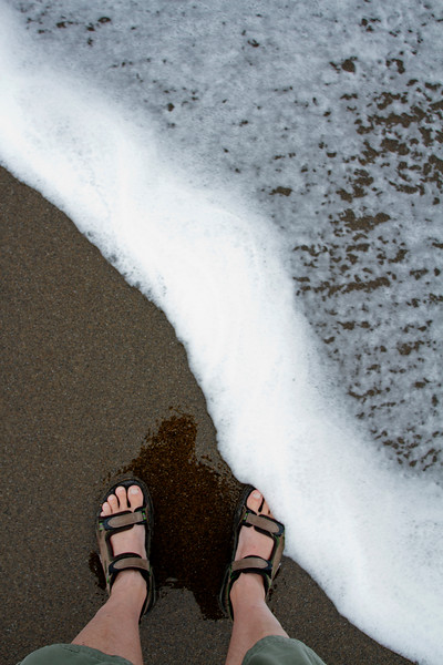 What better way to picture myself on our trip than to shoot my feet being washed (yeah, not that much, but I have some expensive camera equipment with me) by the sea.