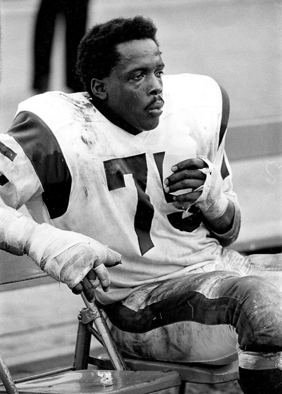 ". In this Nov. 3, 1968 photo provided by NFL Photos, Hall of Fame defensive end David ""Deacon\"" Jones (75) of the Los Angeles Rams sits during the Rams 10-7 victory over the Detroit Lions in Los Angeles. (AP Photo/NFL Photos)"
