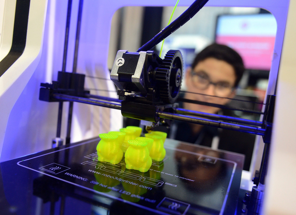 . An image showing items being printed at the Robo3D company stand with a 3D printer, at the Consumer Electronics Show (CES) 2014 in Las Vegas, USA, 08 January 2014. The fair runs from 07 to 10 January 2014. This new way of printing objects can create anything from guns to doorknobs to replacement parts for a dishwasher. The technology is getting closer to mass market appeal as it becomes cheaper. Reports state online retailers are eying a world where people shop on the internet and then print out their purchases at home.  EPA/BRITTA PEDERSEN