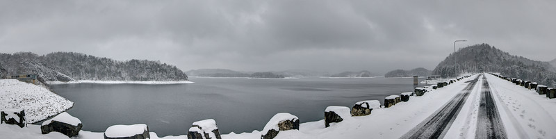A sweeping view after a heavy snowfall on top of South Holston Dam in Bristol, TN on Thursday, February 13, 2014. Copyright 2014 Jason Barnette