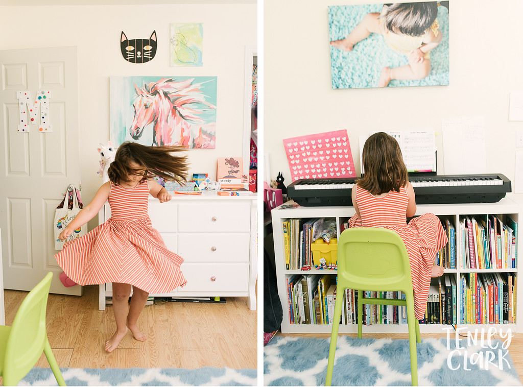 Pictures of little girl in her colorful decorated room with ponies. Twirling in Alice & Ames dress and playing keyboard. Lifestyle in home family photography session in Fremont, CA by Tenley Clark Photography.