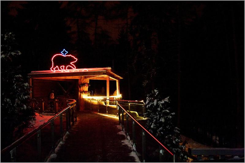 U nového výběhu vlků a medvědů. Vlci nebyli vidět, ale několikrát jsme je během návštěvy slyšeli výt na celou ZOO - ve tmě a sněhu také velice neobvyklý zážitek.