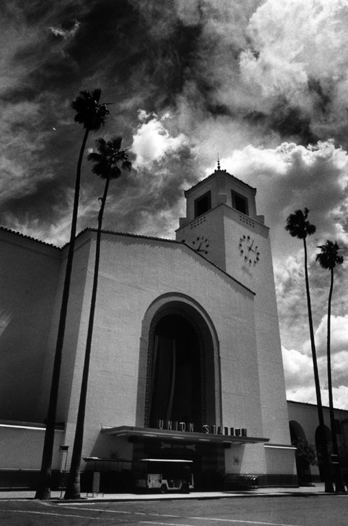 """. The Los Angeles Union Station Terminal will celebrate its 50th anniversary on May 5-7, 1989, with a collection of live steamers and diesels from railroad\'s golden era. Hollywood helped immortalize the station by shooting scenes of \""""The Way we Were,\"""" \""""Rain Man\"""" and \""""Union Station\"""" there. Photo date: April 25, 1989.   (Los Angeles Public Library)"""
