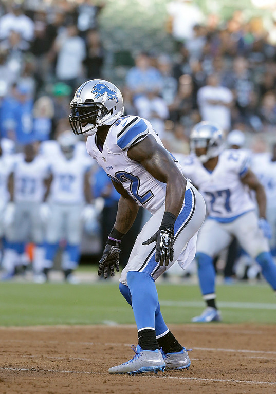 . Detroit Lions strong safety James Ihedigbo (32) against the Oakland Raiders during the first quarter of an NFL preseason football game in Oakland, Calif., Friday, Aug. 15, 2014. (AP Photo/Jeff Chiu)