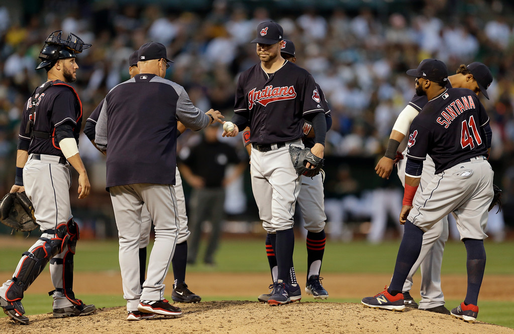 . Cleveland Indians pitcher Corey Kluber, center, hands the ball to manager Terry Francona after being relieved during the eighth inning of the team\'s baseball game against the Oakland Athletics on Saturday, July 15, 2017, in Oakland, Calif. (AP Photo/Ben Margot)