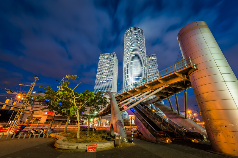 Pedestrian bridge in front of the Azrieli Center in Tel Aviv Israel at night