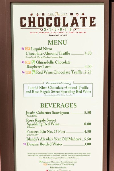 Chocolate Studio Menu - Epcot Food & Wine Festival 2016