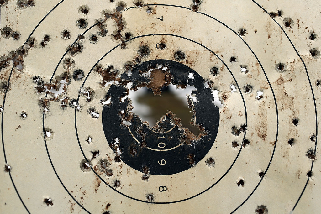 . A shooitng target is full of bullet holes at a class taught by King 33 Training at a shooting range on February 24, 2013 in Wallingford, Connecticut.  (Photo by Spencer Platt/Getty Images)