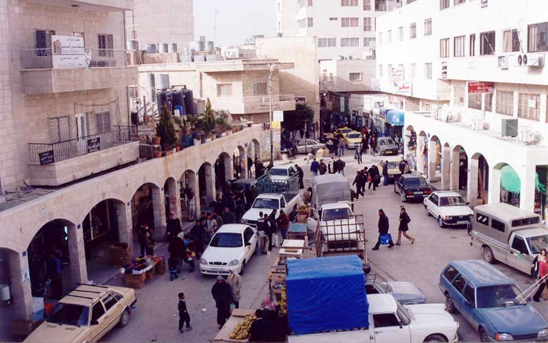 A street scene in Bethlehem, as seen from Christmas Lutheran Church.