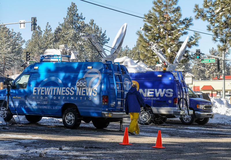 . Television media stakes out at the Big Bear Sheriff\'s Station during day four of the search for fugitive ex-cop Christopher Dorner continues in Big Bear on Sunday, Feb. 10, 2013. (Rachel Luna / Staff Photographer)