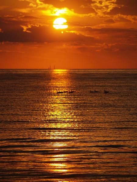 June sunset - Michigan is across Lake Erie (2008).