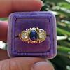 1.75ctw Cab Sapphire and Old European Cut Diamond 3-stone Ring 18