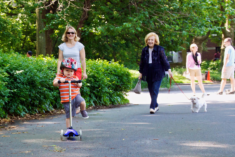 Luca had a good time visiting great-grandma Helene and scooting around in Central Park.