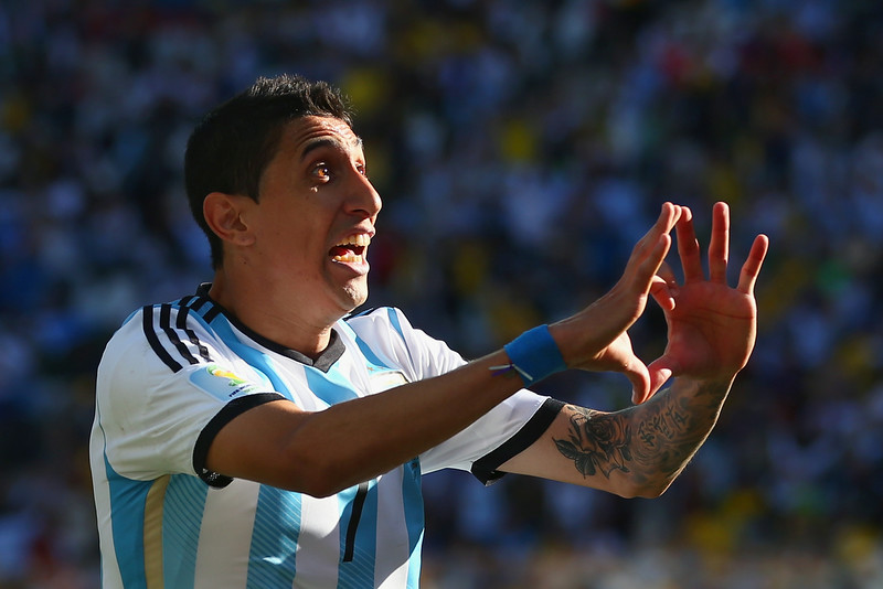 . Angel di Maria of Argentina celebrates scoring his team\'s first goal in extra time during the 2014 FIFA World Cup Brazil Round of 16 match between Argentina and Switzerland at Arena de Sao Paulo on July 1, 2014 in Sao Paulo, Brazil.  (Photo by Julian Finney/Getty Images)