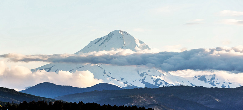 We catch a marvelous view of Mt. Hood from the East.  (Drybrush rendering)