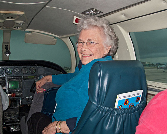Mary on the Plane, Jan. 2010.jpg