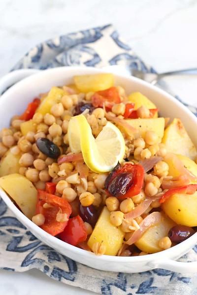 Lemon Roasted Potatoes with Chickpeas - Vegan Greek Recipes