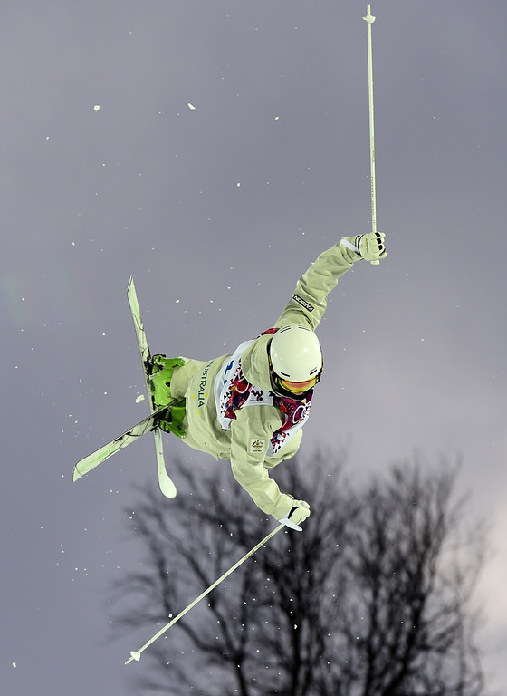 . Australia\'s Matt Graham  competes in the Men\'s Freestyle Skiing Moguls qualifications at the Rosa Khutor Extreme Park during the Sochi Winter Olympics on February 10, 2014.      AFP PHOTO / JAVIER SORIANO/AFP/Getty Images