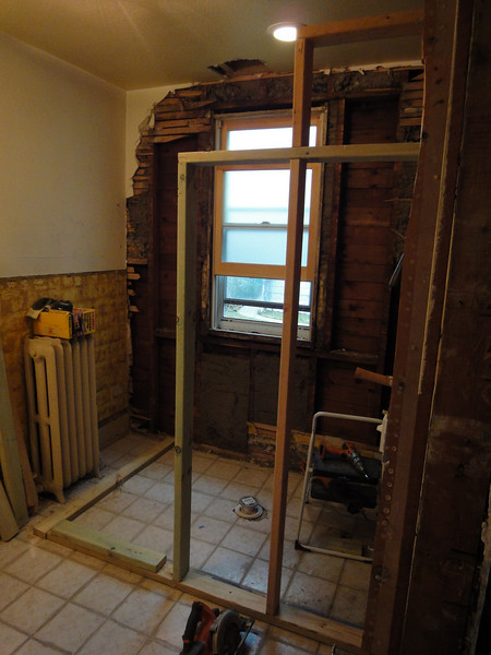 Lath, plaster and insulation removed to ready the wall for the new tile. Also, framing of the first of two walls for the new shower.