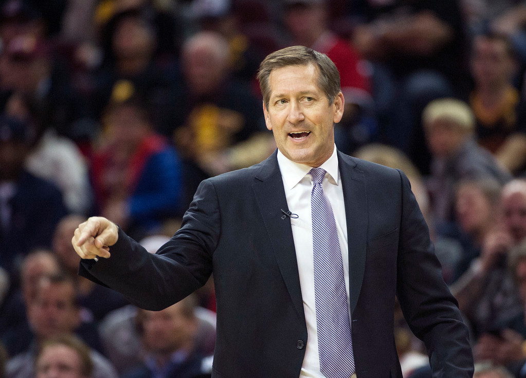 . New York Knicks head coach Jeff Hornacek directs his team against the Cleveland Cavaliers during the first half of an NBA basketball game in Cleveland, Tuesday, Oct. 25, 2016. (AP Photo/Phil Long)