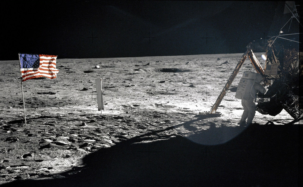 ". FILE - This July 20, 1969 file photo provided by NASA shows Apollo 11 astronaut Neil Armstrong on the lunar surface. Apollo 11 astronauts trained on Earth to take individual photographs in succession in order to create a series of frames that could be assembled into panoramic images. This frame from Aldrin\'s panorama of the Apollo 11 landing site is the only good picture of mission commander Neil Armstrong on the lunar surface. Armstrong and fellow astronaut Edwin ""Buzz\"" Aldrin spent nearly three hours walking on the moon, collecting samples, conducting experiments and taking photographs. In all, 12 Americans walked on the moon from 1969 to 1972.  (AP Photo/NASA, Buzz Aldrin, File)"