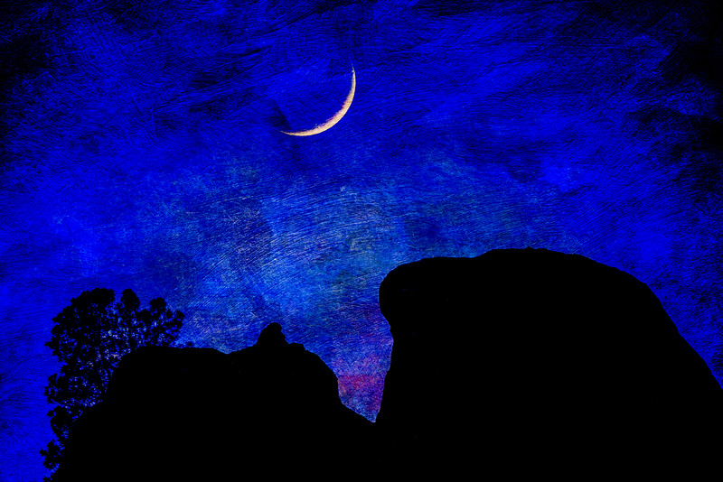 Crescent Moon Over Spires, Pinnacles National Park