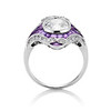 2.27ct (est) Art Deco Old European Cut Diamond with Amethyst Halo Ring 3