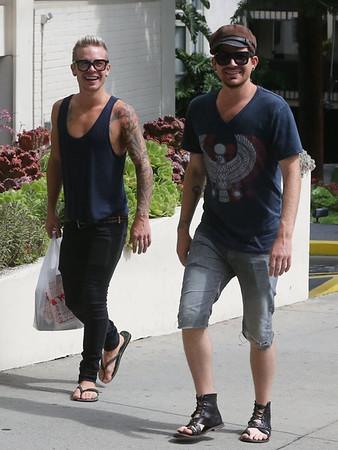 Adam & Sauli in WeHO Sun. July 14 2013 + Video of Sauli before & after meeting Adam + BIRTHDAY MEMORIES, Sauli gets new tattoo