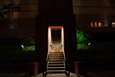 Stairway up to street level from Bayou walkway - Wortham Center Downtown Houston
