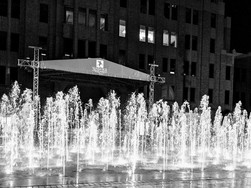The Sundance Square fountains the night before.jpg